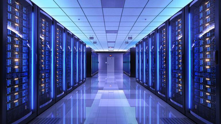 Server racks in server room data center. 3d render