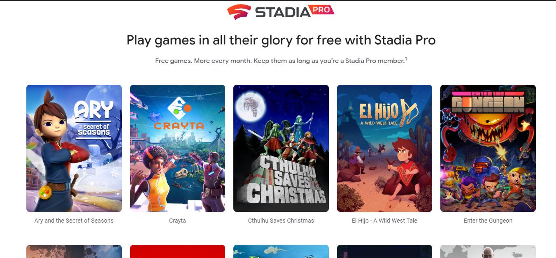 Google Stadia Free Trial games